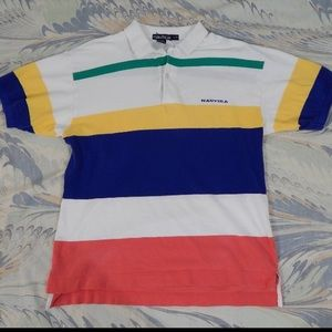 Vintage Nautica Striped Colorblock Polo Shirt  L